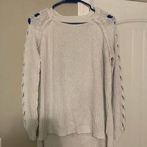 White Detailed Sleeve Sweater